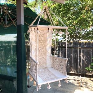 Vintage Hanging Chair Crochet Macrame Fabric Ivory